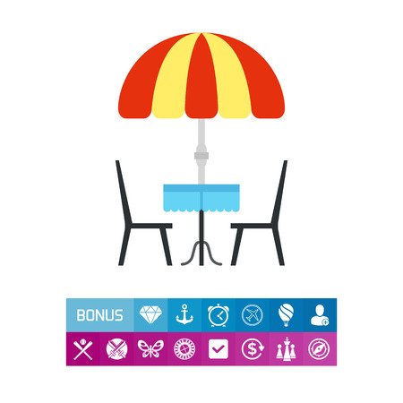 sunshade: Illustration of cafe table with umbrella and two chairs. Street cafe, coffee shop, drinking coffee, coffee break. Cafe concept. Can be used for topics like coffee break, lunch, cafe