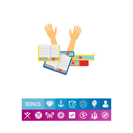 Icon of student sinking in books. Deadline, studying, reading, stress. Education concept. Can be used for topics like preparation for exam, learning, school