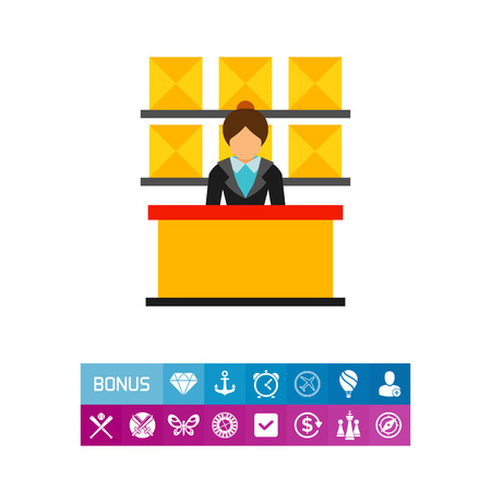 Icon of post office interior. Distribution, correspondence, delivery. Postal service concept. Can be used for topics like communication, workplace, occupation