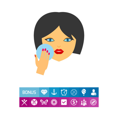 cleansing: Icon of powdering woman. Make-up, cosmetics, complexion. Getting ready concept. Can be used for topics like beauty, visage, cleansing Illustration