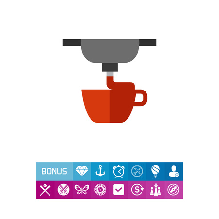 Vector icon of 3d printing of cup. 3d printing process, engineering, manufacturing. 3d-printing concept. Can be used for topics like innovation, technology, modeling Vectores