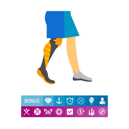 Icon of prosthetic leg. Amputee, injury, disability. Handicap concept. Can be used for topics like medicine, paralympic, invalid Illustration