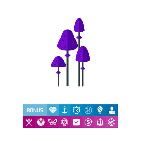 Vector icon of purple psilocybin mushrooms. Toadstools, poisonous mushrooms, danger. Narcotic concept. Can be used for topics like drugs, mushrooms, poisonous plants Illustration