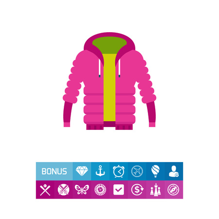 Vector icon of purple unisex warm down jacket. Outdoor clothing, unisex clothes, sport style. Casual clothes concept. Can be used for topics like teenage fashion, style, modern trends