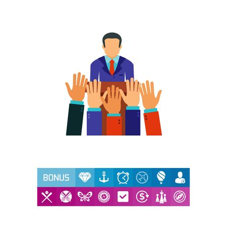 Vector icon of politician standing at tribune and raised hands voting for candidate. Election campaign, voting, ballot. Elections concept. Can be used for topics like politics, government, society