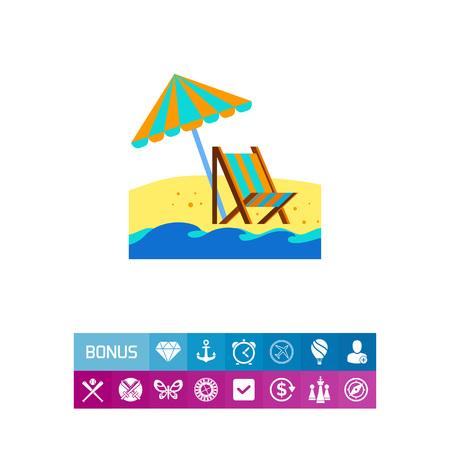 Ikone des Liegestuhls und des Regenschirmes auf dem Strand. Meer, Sommer, Reisen. Ferien-Konzept. Kann für Themen wie Reiseziel, Entspannung, Bräunen verwendet werden Standard-Bild - 83335865