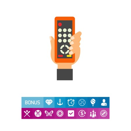 Icon of remote control in hand. Device, channel, pause. Television concept. Can be used for topics like broadcasting, leisure, program