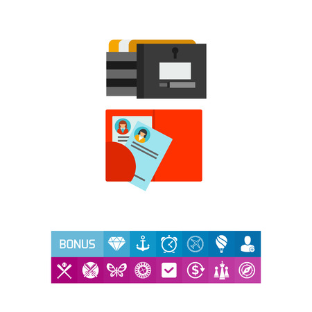 Vector icon of resumes in folder and file cabinet. Staff reserve, staff file cabinet, employees personal file. Head hunting concept. Can be used for topics like business, employment, career