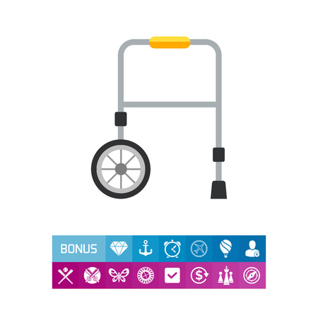 Icon of rolling walker. Mobility, rehabilitation, injury. Handicap concept. Can be used for topics like hospital, medicine, healthcare