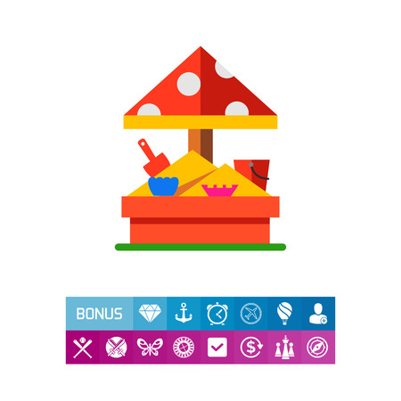 Vector icon of sandbox with molds. Playground, sandpit, childhood. Kindergarten concept. Can be used for topics like children, leisure, preschool