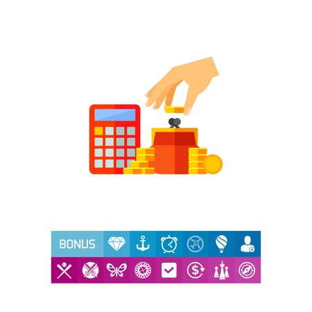Vector icon of human hand putting coins into purse and calculator. Saving money, profit, home finance. Sales concept. Can be used for topics like shopping, finance, economy, banking
