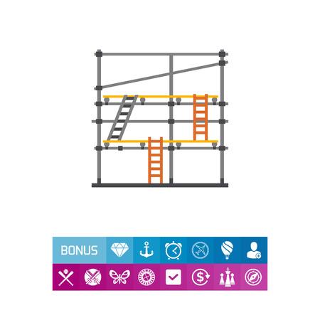 사다리와 스 캐 폴딩의 벡터 아이콘입니다. 혁신, 건설 현장, 건물 활동. 건물 장비 개념입니다. 건축, 건축, 유지 보수와 같은 주제에 사용될 수 있습니 일러스트