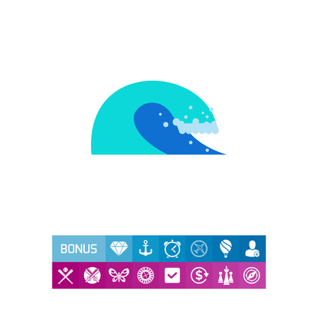 Icon of blue sea wave. Ocean, water, energy. Sea concept. Can be used for topics like summer, surfing, nature