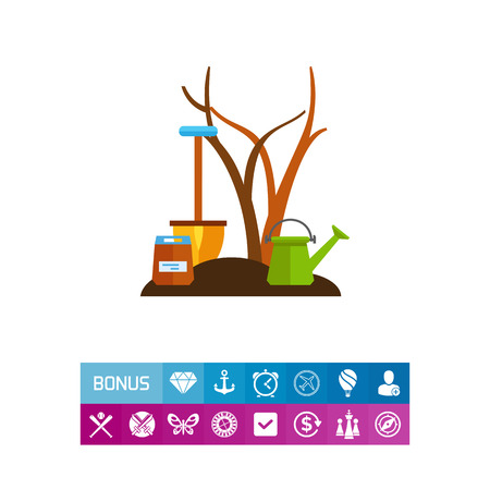 Icon of fruit tree, flowering pot and spade. Fertile soil, cultivation, tool. Seeding concept. Can be used for topics like gardening, planting, reforestation Illustration