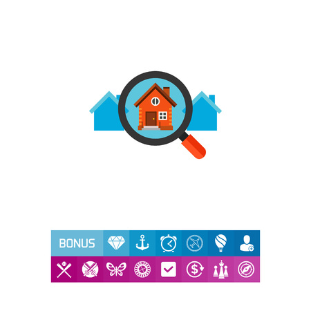 Icon of magnifying glass zooming house. Choosing house, rent, searching property.House concept. Can be used for topics like rent, property or house purchase