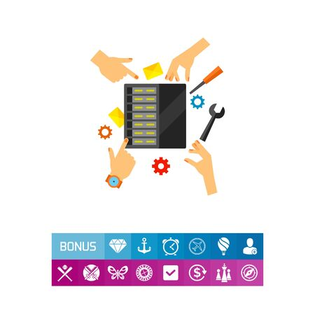 checking: Icon of server maintenance. Repairing, diagnostics, administrating. Data center concept. Can be used for topics like database, technology, storage