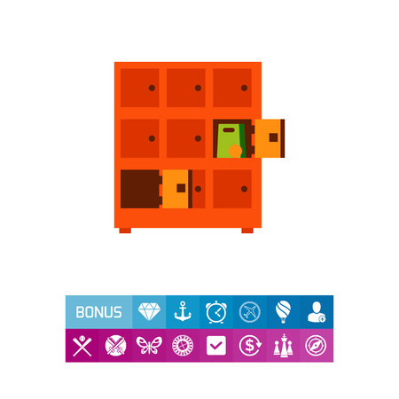 Icon of shop lockers. Shop, supermarket, storage. Shopping concept. Can be used for topics like security, shoplifting, shipment