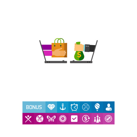 Illustration of two laptops with hands holding shopping bag and money. Shopping online, technology, e-shop. E-commerce concept. Can be used for topics like Internet, e-commerce, online shopping