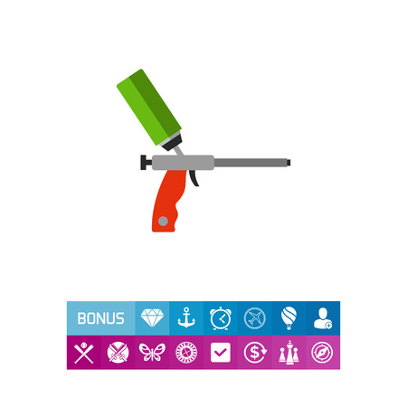 Vector icon of silicone gun. Glue gun, repair, installation. Building equipment concept. Can be used for topics like construction, service, home improvement