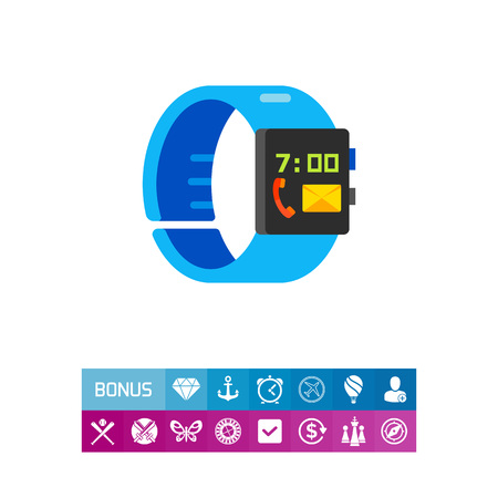 Smart wristband with telephone receiver and envelope signs on display. Watch, device, innovation. Smart wristband concept. Can be used for topics like technology, electronics, accessories.