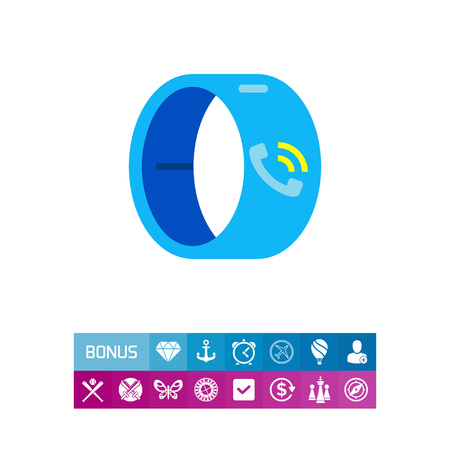 Smart wristband with telephone receiver and signal signs on display. Watch, device, innovation. Smart wristband concept. Can be used for topics like technology, electronics, accessories.
