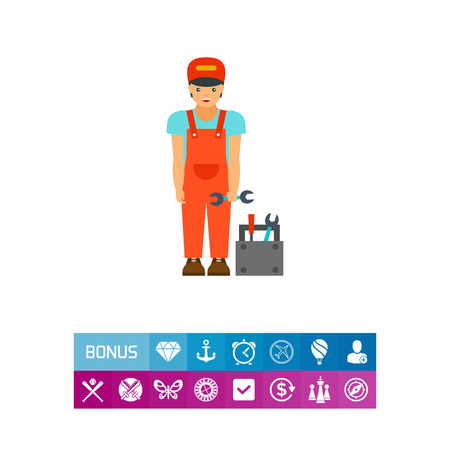 Icon of smiling mechanic with toolbox. Service, plumber, locksmith. Occupation concept. Can be used for topics like job, maintenance, diagnostic
