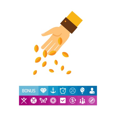 Icon of hand sowing grain. Planting, beginning, nature. Agriculture concept. Can be used for topics like gardening, spring, farming