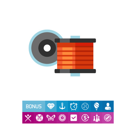 Vector icon of spool with filament for 3d printing. Fiber, thread, material. 3d-printing concept. Can be used for topics like electricity, physics, innovation