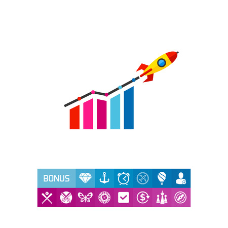 Rising bar chart and rocket. Project, profit, idea. Startup growth concept. Can be used for topics like business, technology, marketing.