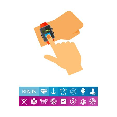 Illustration of Users hand using or wearing Smart Watch Icon Illustration