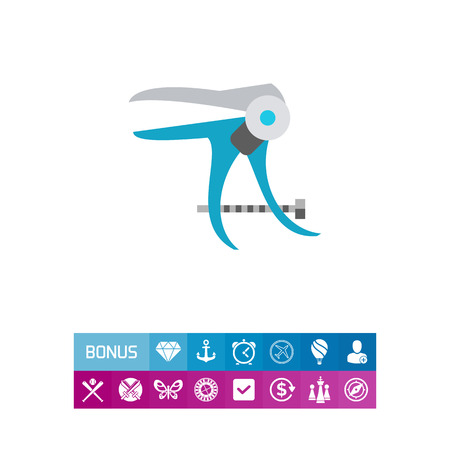 Vector icon of vaginal speculum. Gynecological tool, medical examination, medical equipment. Gynecology concept. Can be used for topics like female health, medicine, medical test Ilustração