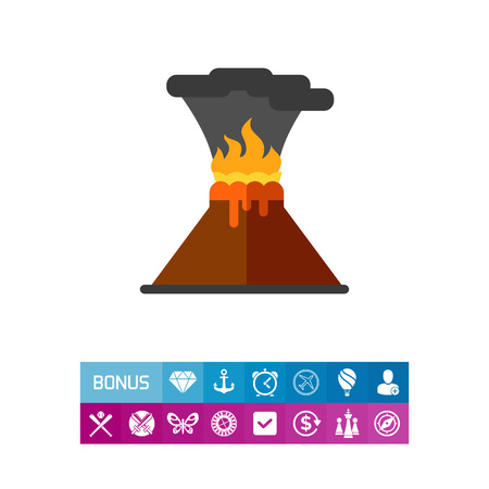 A Vector icon of volcanic eruption. Volcanic activity, active volcano, catastrophe. Natural disaster concept. Can be used for topics like environment, geography, natural phenomenon Illustration