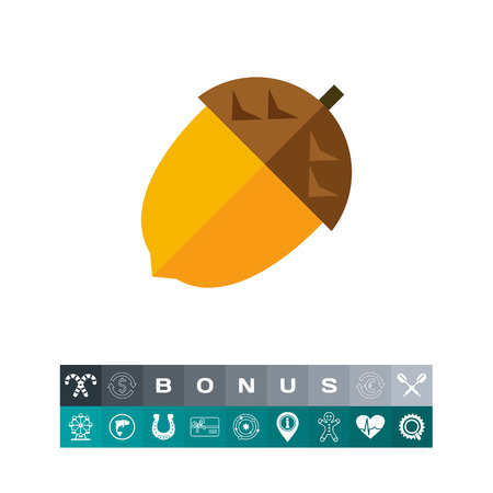 Multicolored vector icon of isolated whole acorn Illustration