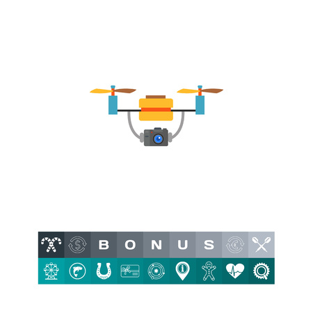 Aerial Drone with Camera Icon Illustration