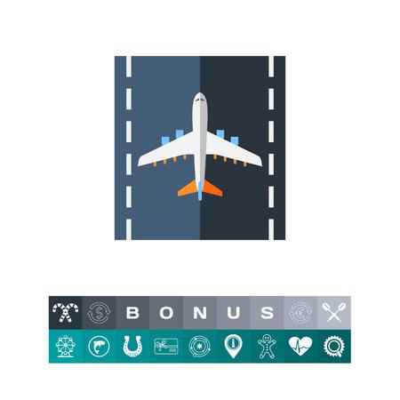Airplane on Runway Vector Icon Иллюстрация
