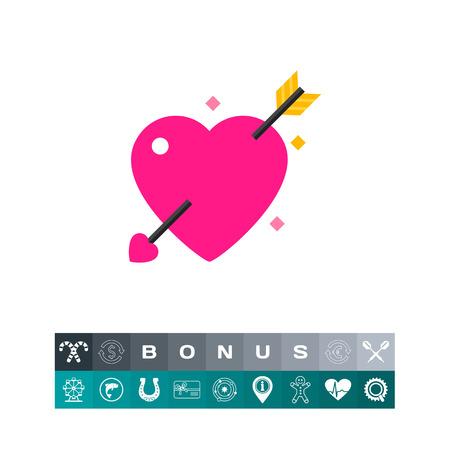 Amour Symbol with Heart and Arrow Icon Illustration