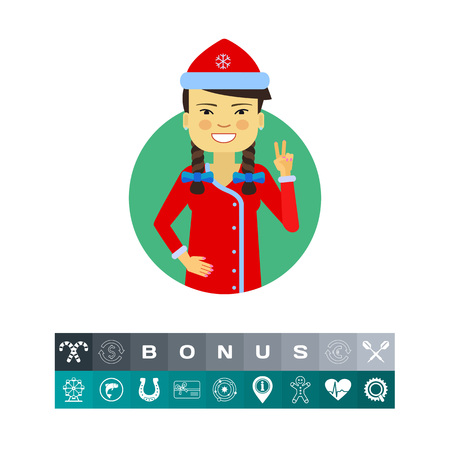 Female character, portrait of Asian woman wearing Santa costume, showing victory gesture