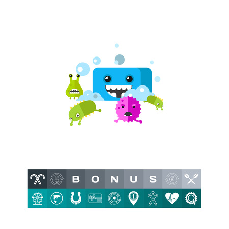 Bacteria characters running from smiling soap cartoon character. Virus, infection, health care, cleanness. Health care concept. Can be used for topics like infection, health care, disease prevention