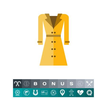 Beige woman raincoat icon
