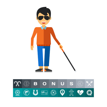poverty: Blind Man with Cane Icon Illustration