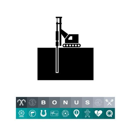 Boring Machine Simple Icon Illustration