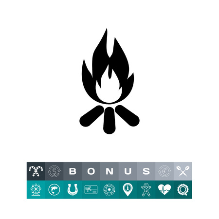 to spend the summer: Burning Campfire Icon Illustration