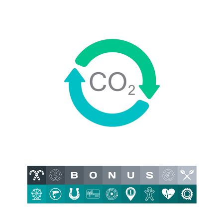 A Vector icon of carbon dioxide formula in circle made of arrows illustration.