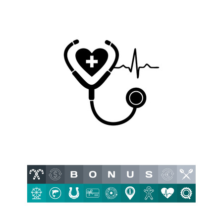 Monochrome vector icon of human heart, stethoscope and cardiac rate representing cardiology concept