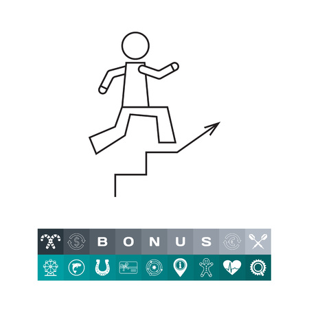 opportunity sign: Icon of man figure running up staircase illustration.