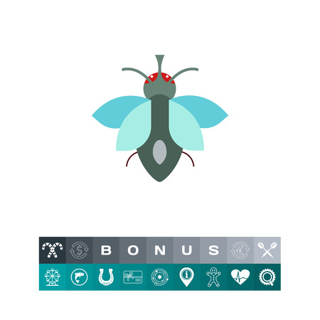 Multicolored vector icon of cartoon fly, top view