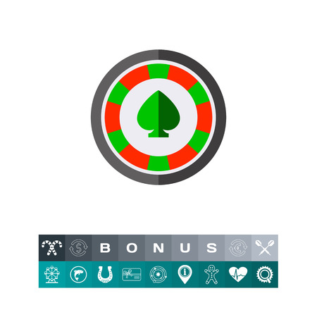 Casino Chip With Spade Icon illustration.