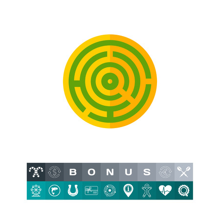 Challenge Concept Icon with Maze. Vector illustration.