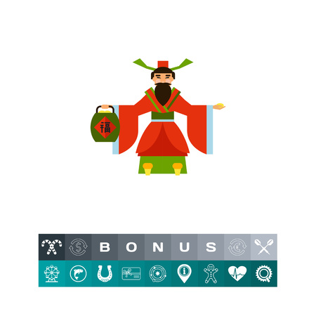 Multicolored vector icon of Chinese God of wealth holding treasure basket