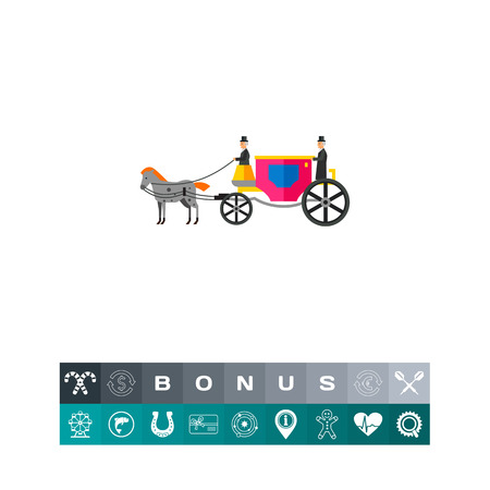 Coach with Horse and Coachmen Icon